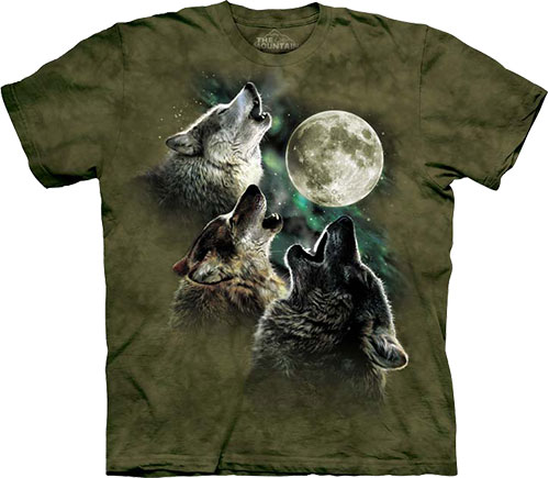 Футболка The Mountain - Three Wolf Moon in Olive