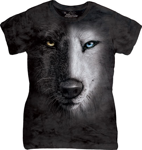 Футболка Женская The Mountain - Black And White Wolf Face