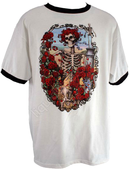 Футболка Liquid Blue - 30TH Anniversary Ringer - Grateful Dead White T-Shirt фото, цена, описание