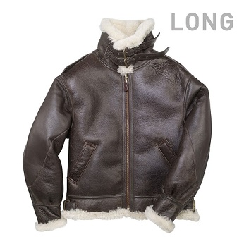 """The General"" B-3 Bomber Jacket Long - Z2103L - BROWN"