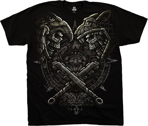 Футболка Liquid Blue - Skulls Black T - Shirt - Aztec Faceoff фото, цена, описание