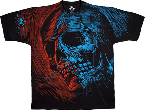 Футболка Liquid Blue - Skulls Black Athletic T - Shirt - Dead Web фото, цена, описание