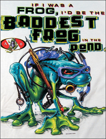 Amphibious - Футболка женская - Baddest Frog backprint with Pewter A-O Logo Front Print