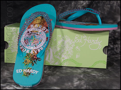 Шлепанцы женские Ed Hardy - BC - Turquise