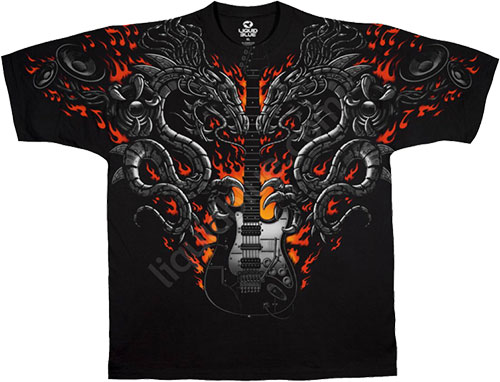 Футболка Liquid Blue - Musica Black Athletic T - Shirt - Flames Of Twang фото, цена, описание