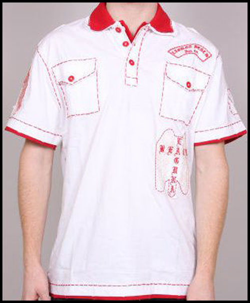 Laguna Beach - Футболка мужская - Mens Long Beach White-Red Polo Shirt фото, цена, описание
