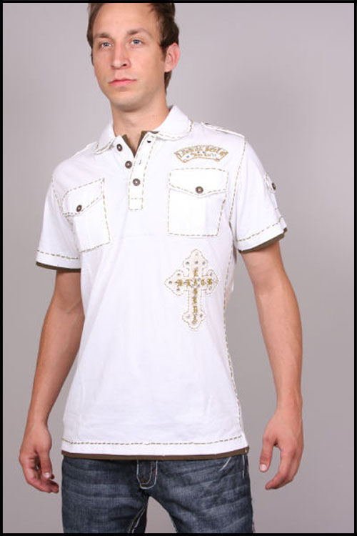 Laguna Beach - Футболка мужская - Mens Newport Beach White-Olive Polo (с кристаллами) фото, цена, описание