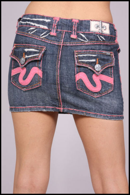 Laguna Beach - Юбка - Womens Laguna Beach Pink Stitch Blue Wash Mini Skirt фото, цена, описание