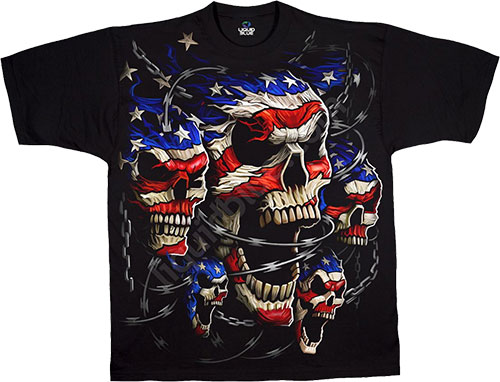 Футболка Liquid Blue - Skulls Black T - Shirt - Patriotic Skulls фото, цена, описание