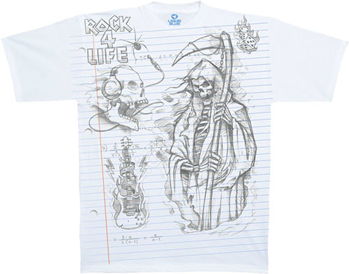 Футболка Liquid Blue - Musica White Athletic T - Shirt - Reaper Sketch фото, цена, описание