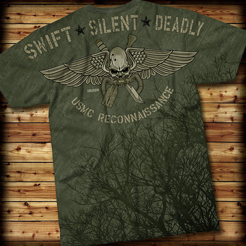 Футболка 7.62 Design - USMC Recon Swift Silent Deadly - Green
