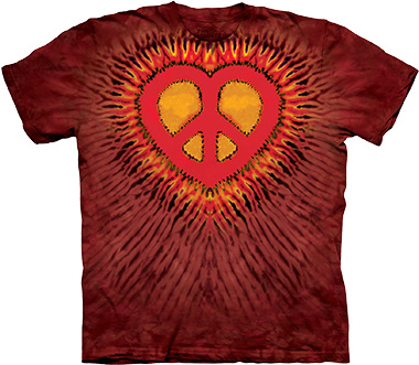 Футболка The Mountain - Red Peace Heart Tie Dye - 2011 фото, цена, описание