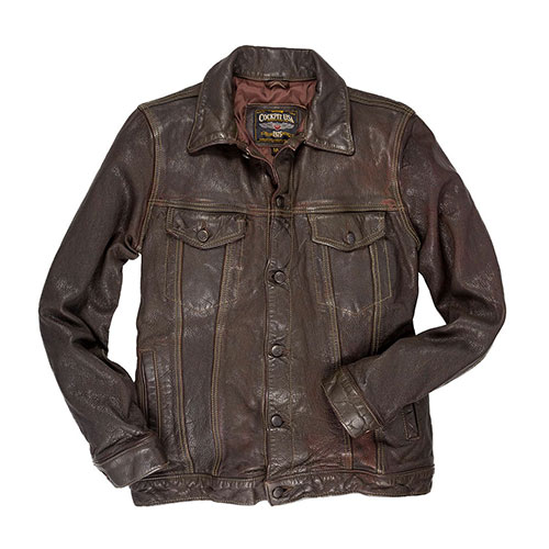 Сockpit USA - Куртка Мужская - Stonewashed Leather Jean Jacket - Z21W012 - Brown фото, цена, описание